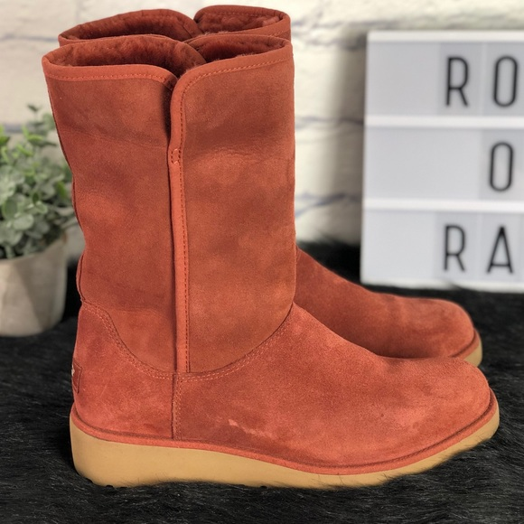 e0229b664a0 UGG Amie Suede Wedge Heel Rust Color Winter Boot